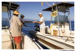 Whale researchers near Maui, Hawaii.
