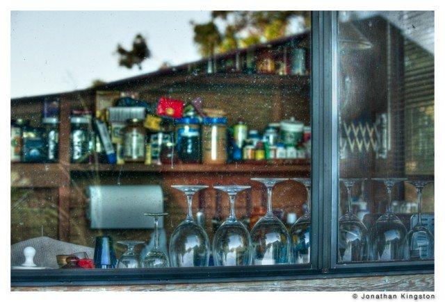 View into a kitchen window on Moloaki, Hawaii.