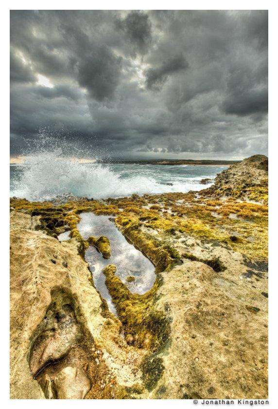 Rocks and surf at Mo`omomi Nature Preserve, Molokai, Hawaii (5 shot HDR, tonemapped).